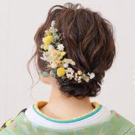ショートの方でもアップスタイルできます✿髪飾りをたくさん付けて華やかに