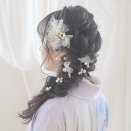 コットンパール×チュールの髪飾りが可愛い*。